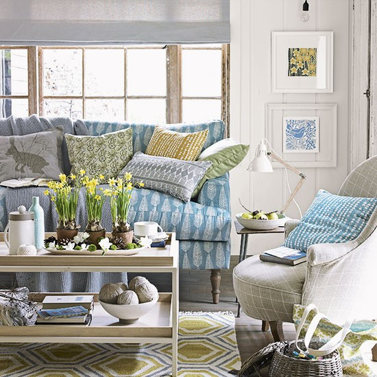 Country Living Room With Blue Sofa Decorating