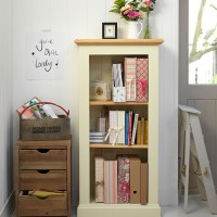 Neutral country hallway with mini bookcase