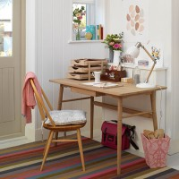 White country home office with retro-style desk and chair
