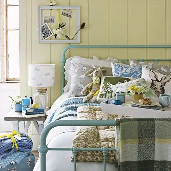 Daffodil Yellow Country Bedroom With Duck Egg Bedstead