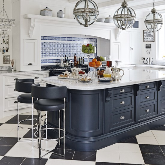 Black Kitchen Island Uk: Large-scale Central Island