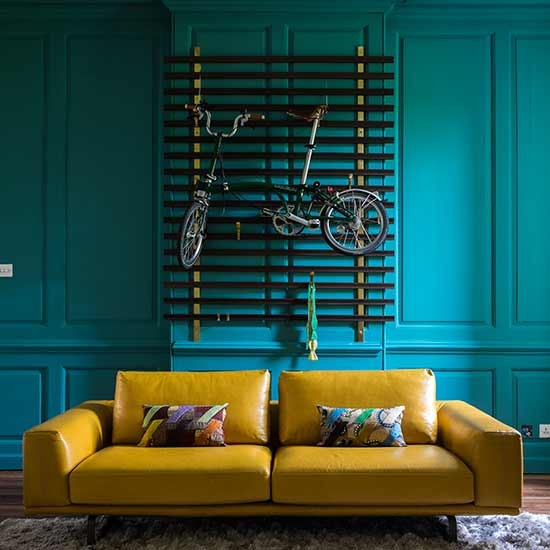Green Home Design Ideas: Teal And Mustard Living Room