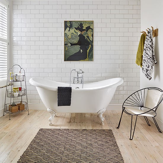 White Modern Bathroom With Metro Tiles And Artwork