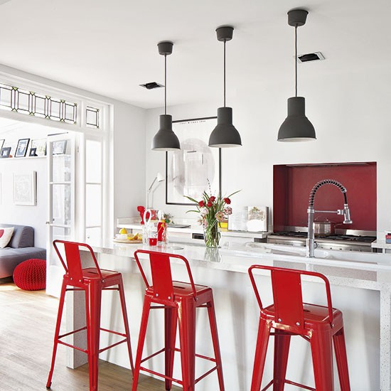Kitchen Stools Uk: White Open-plan Kitchen With Pendants And Stools