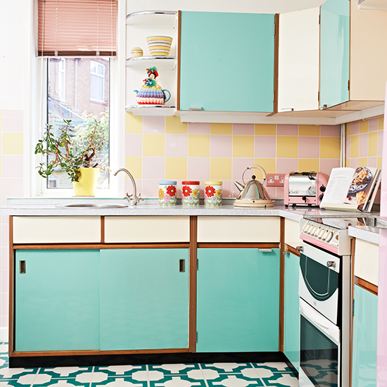 Retro kitchen with vinyl floor and turquoise cabinetry for Vintage kitchen units uk