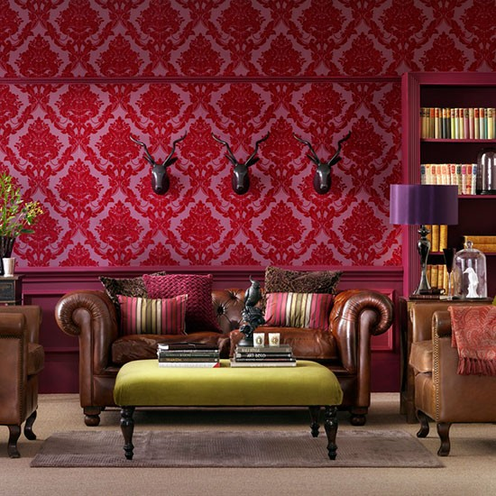 Heritage room schemes design ideas for Red wallpaper designs for living room
