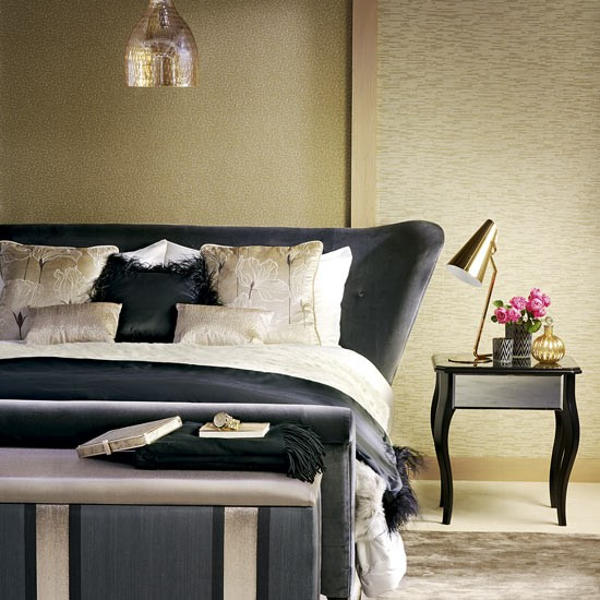 Gold Bedroom With Black Sleigh Bed