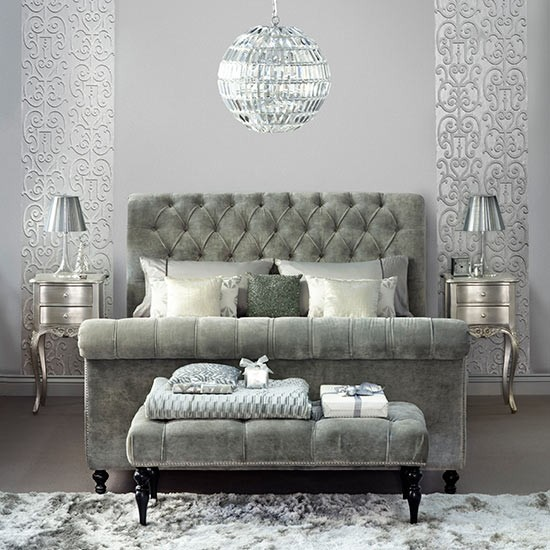 silver bedroom with upholstered sleigh bed decorating with precious
