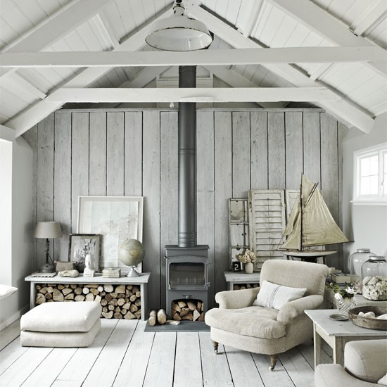 Wandverkleidung Holz Vintage ~ White living room with natural materials  Living room ideas  Living