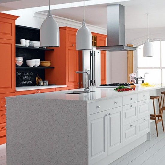 Burnt orange cabinetry  Painted kitchen design ideas  Decorating