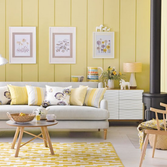 Daffodil yellow living room with scandi style daffodil for Interior design living room yellow