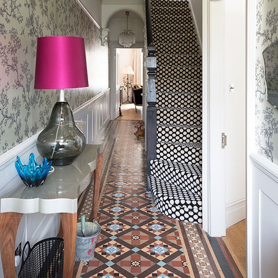 Hallway with encaustic tiles