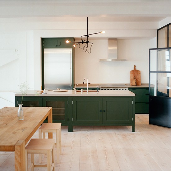 Modern Wood Kitchen With Green Freestanding Cabinetry