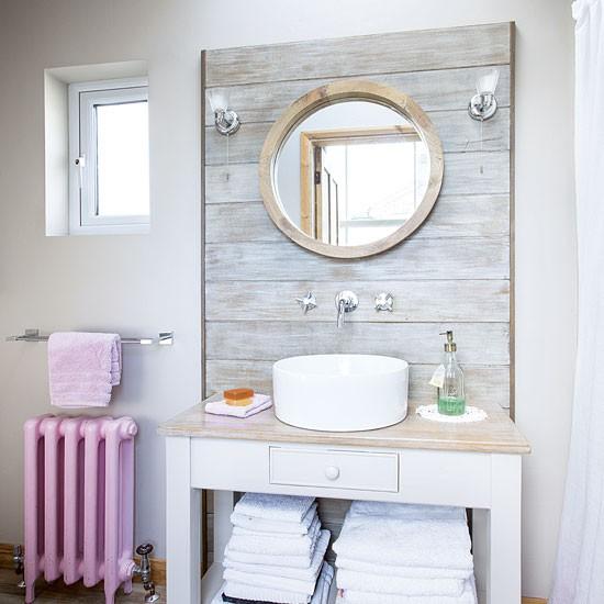 Modern Bathroom With Port Hole Mirror Decorating