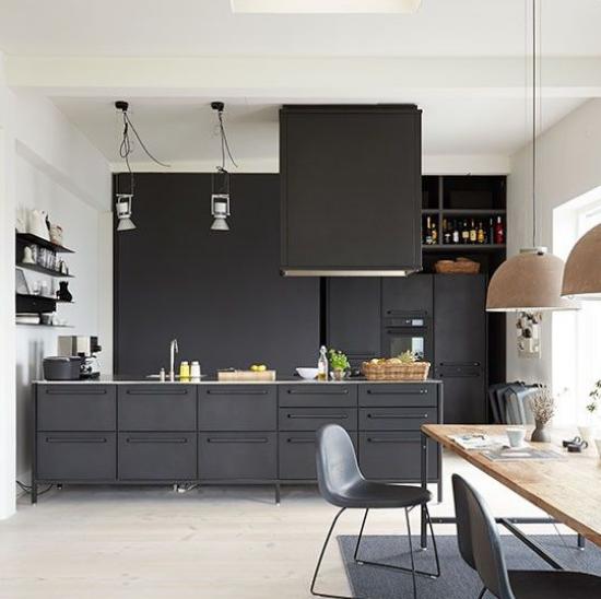 Black Handleless Open plan Kitchen Diner Ideas
