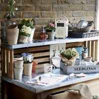 Garden shed with potting bench