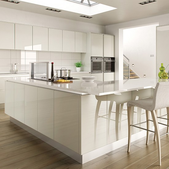 Hi-gloss White Kitchen With L-shaped Island