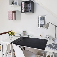 White home office with box shelves