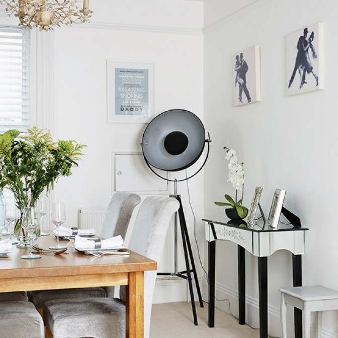Monochrome dining room with Hollywood Glamour