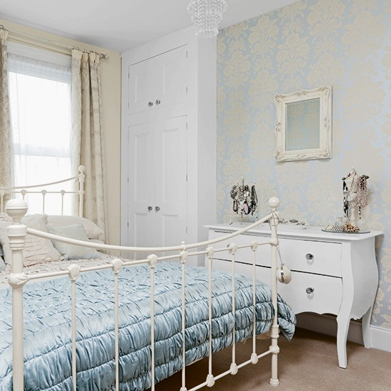 Powder blue bedroom with damask wallpaper for Damask wallpaper bedroom ideas