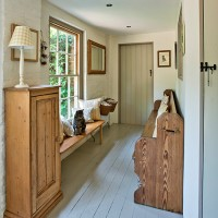 Country hallway with church pew