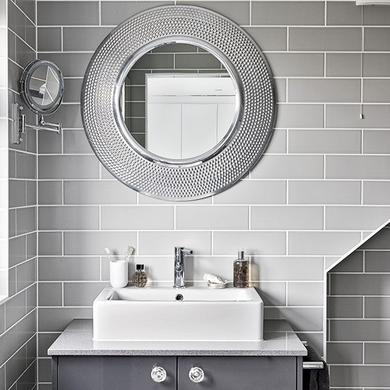 Modern Grey Bathroom With Round Mirrors Housetohome Co Uk