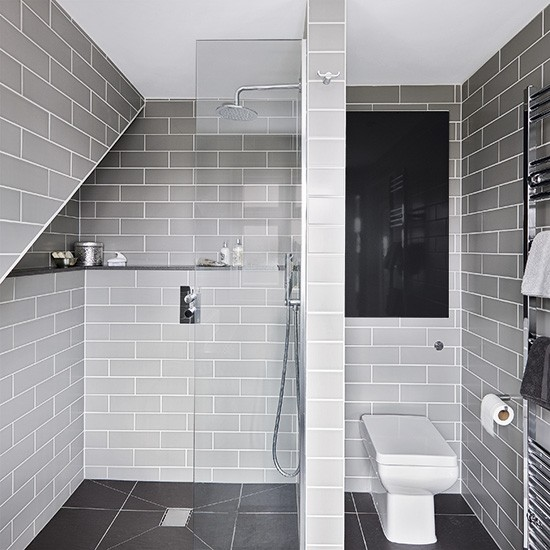 Grey modern wet room with metro tiles decorating for Grey bathroom tile ideas