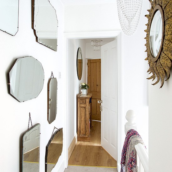 White Hallway With Mirror Collection Decorating