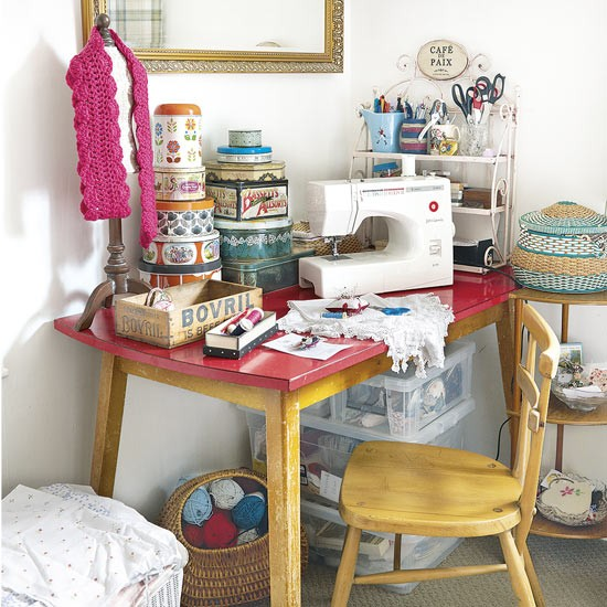 Vintage craft room with sewing machine and storage unit vintage home decor - Small space sewing area style ...