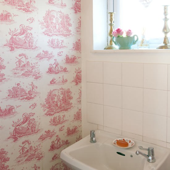 White bathroom with pink toile wallpaper decorating - Toile bathroom decor ...