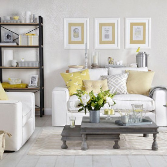 Pale grey and lemon yellow living room grey and yellow for Yellow living room decorating ideas