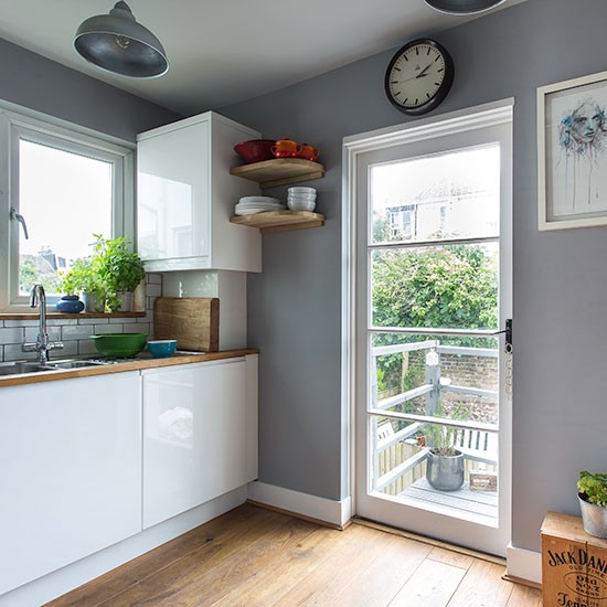 Kitchen With French Doors: Grey And White Kitchen With French Door