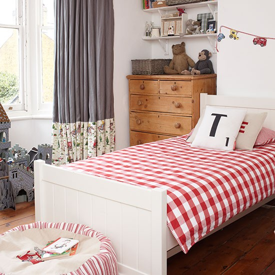 Child's white room with red and grey accents | bedroom decorating | Style at Home | Housetohome.co.uk