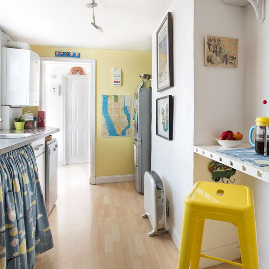 White Kitchen With Yellow Accents: Yellow And White Kitchen With 1950s-style Decor