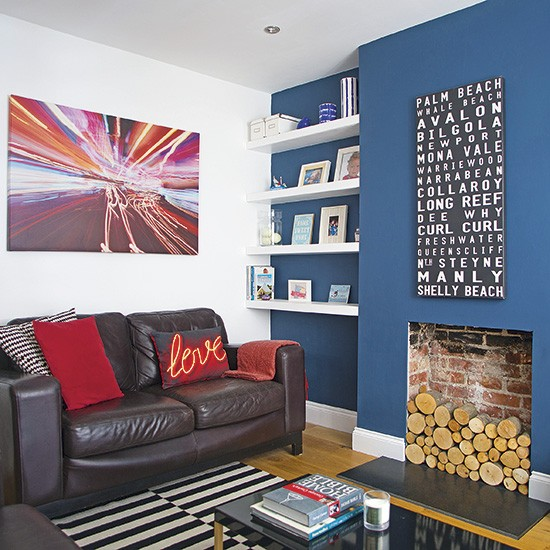 Living Room With Dark Blue Feature Wall Decorating