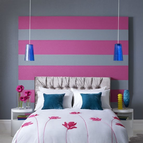 Pink and grey striped wallpaper bedroom wallpaper ideas for Striped wallpaper bedroom designs