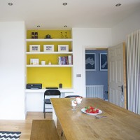 Smart dining room with yellow feature wall