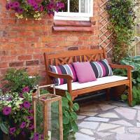 Courtyard patio with garden bench