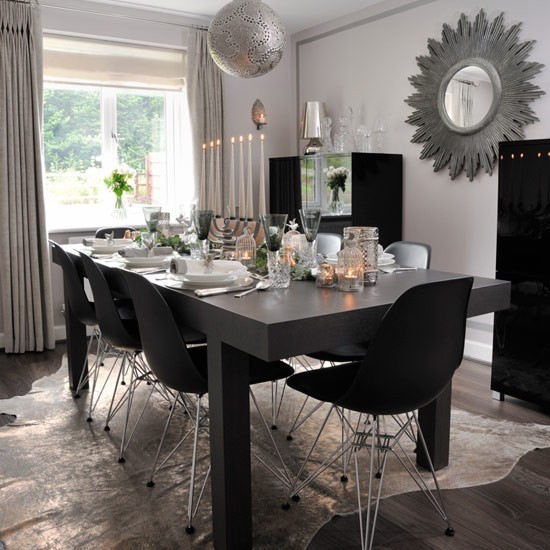 contemporary christmas dining room with monochrome table