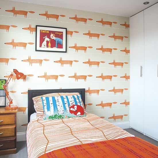 Children 39 s bedroom with orange fox motif wallpaper Wallpaper for childrens room