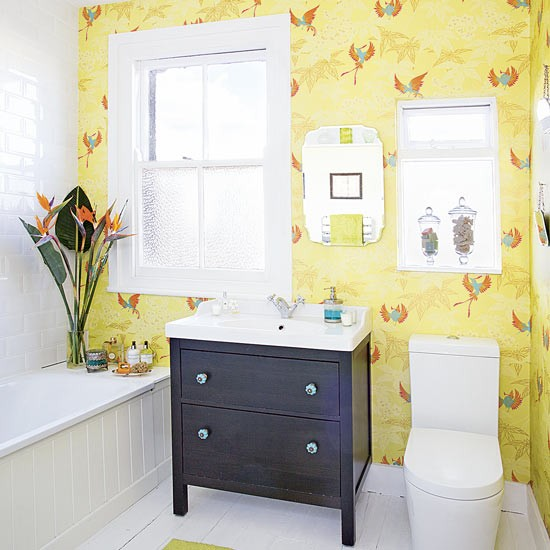 Modern Yellow Bathroom With Black Vanity Unit