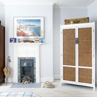 Nautical style bedroom with bamboo wardrobe