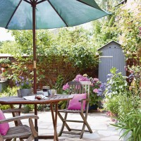 Courtyard garden with shaded dining area