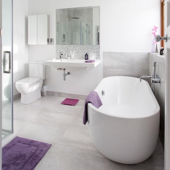 Contemporary Bathroom With Roll Top Bath