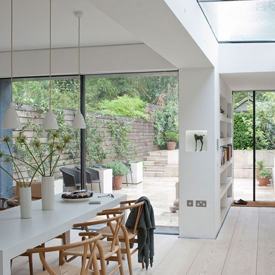 White open plan kitchen extension modern extensions for House extension interior designs