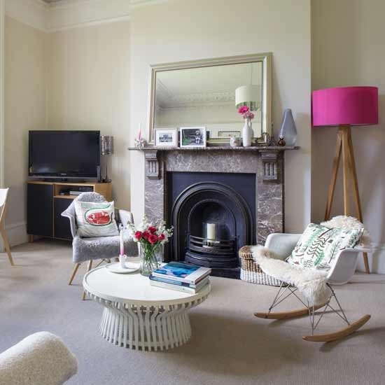 Neutral living room with pink floor lamp and Eames rocking  : fireplace rocking chair from www.housetohome.co.uk size 550 x 550 jpeg 49kB