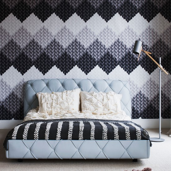 Knitting Pattern Wallpaper : Grey bedroom with modern knitting design wallpaper