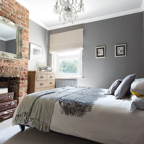 Grey bedroom with brick fireplace 20 gorgeous grey for Brick wallpaper bedroom ideas