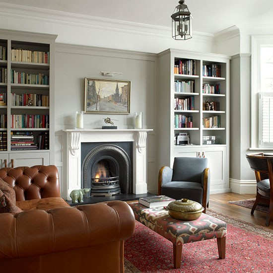 Grey Living Room With Chesterfield Sofa And Classic Bookcases Grey Living Room Ideas