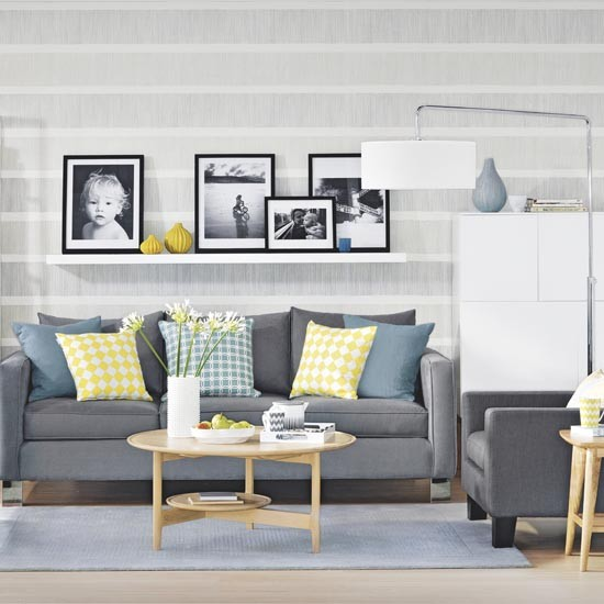 Grey living room with graphic stripe wallpaper and picture for Grey wallpaper living room ideas